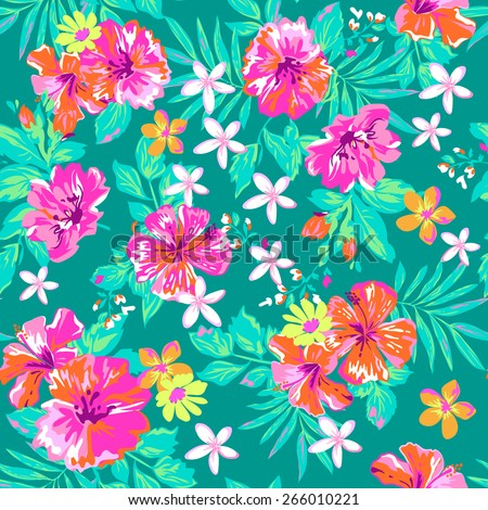 Bright tropical flower print ~ seamless background - stock vector