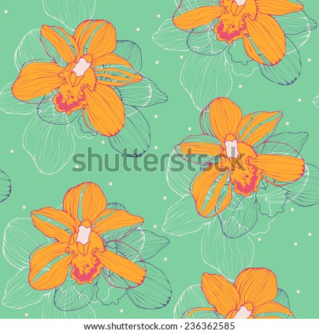 bright tropical seamless pattern with yellow orchids - stock vector