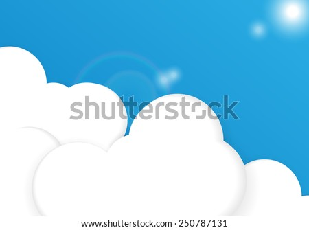 Bright vector background with blue sky and clouds. Eps10 - stock vector