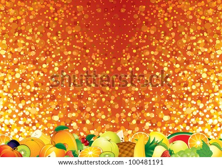 Bright Vector Background with Fruits. Template for your Text - stock vector