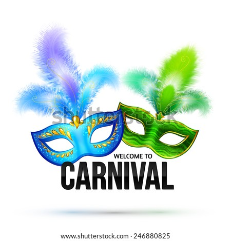 Bright vector carnival masks with feathers and black sign Welcome to Carnival - stock vector
