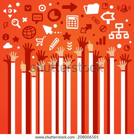 Bright vector illustration lots of male hands are lifted upwards on a gray background with different application icons - stock vector