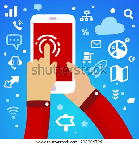 Bright vector illustration man's hand holding a large white phone and press screen on a blue background with different application icons - stock vector
