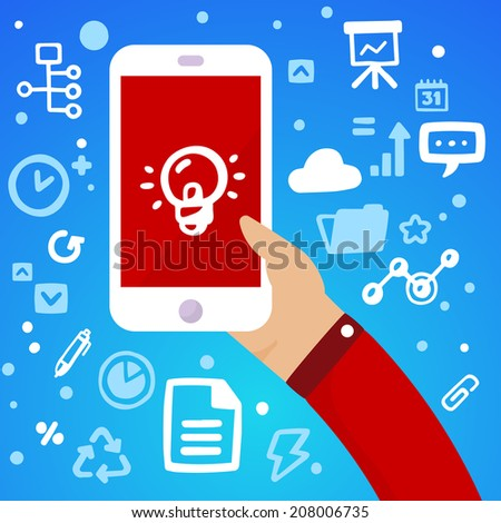 Bright vector illustration man's hand holding a large white phone with light bulb on a blue background with different financial icons - stock vector