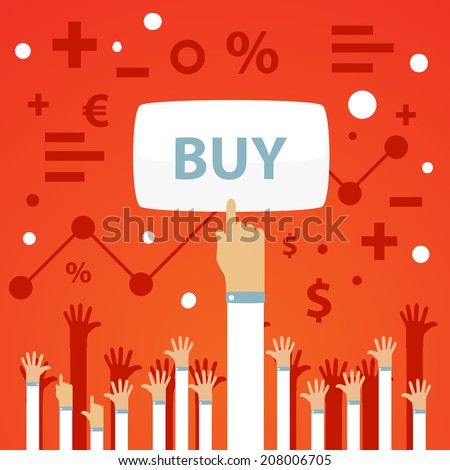 Bright vector illustration of a man's hand is raised up and presses the button to buy on a red background with raised up hands and financial icons  - stock vector