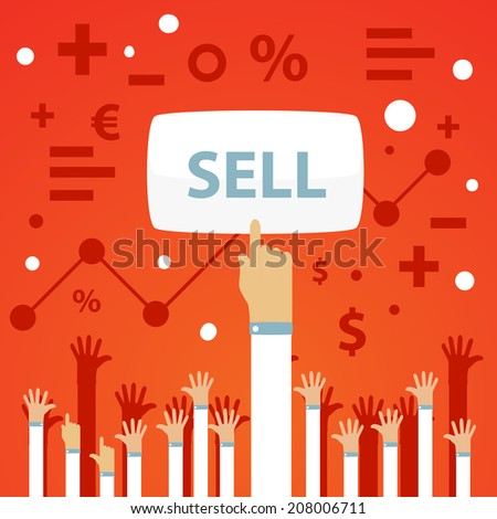 Bright vector illustration of a man's hand is raised up and presses the button to sell on a red background with raised up hands and financial icons  - stock vector