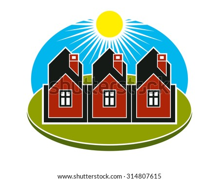 House icon on green round background 605042933 for Bright illustration agency