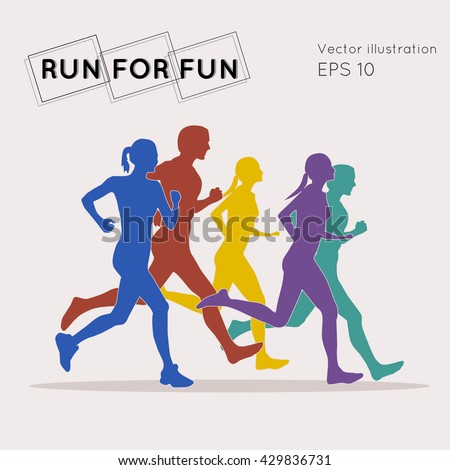 Bright vector illustration with running people. Marathon. Run for fun