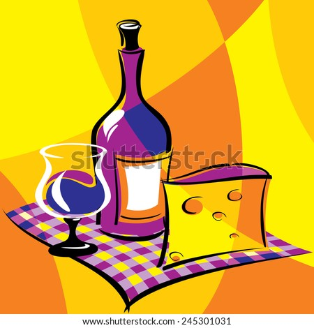 bright vector image of wine. stylized stained glass - stock vector