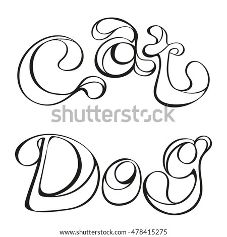 "Bright vector lettering in the free-style doodle, the words ""cat"" and ""dog"" in black lines on a white background. Hand-drawn text for logos and headers."