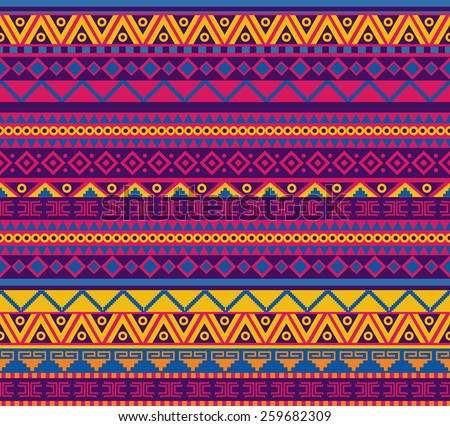 bright vector seamless pattern in mexican style - stock vector