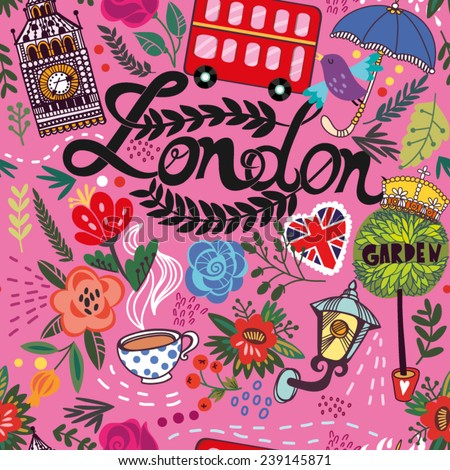 Bright vector seamless pattern of London symbols. - stock vector