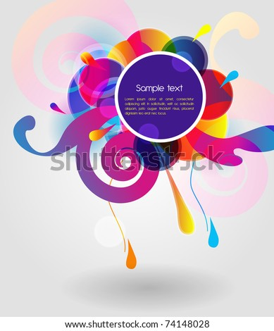 Bright vector shape with flowers - stock vector