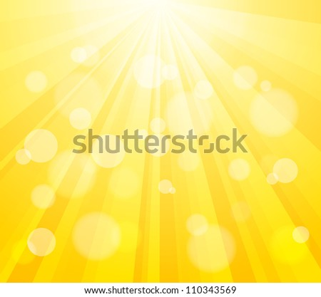 Bright Vector Sun and Paint Splashes Effect Background. Bokeh Effect. - stock vector