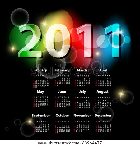 bright vector template with 2011 year  calendar. Eps10