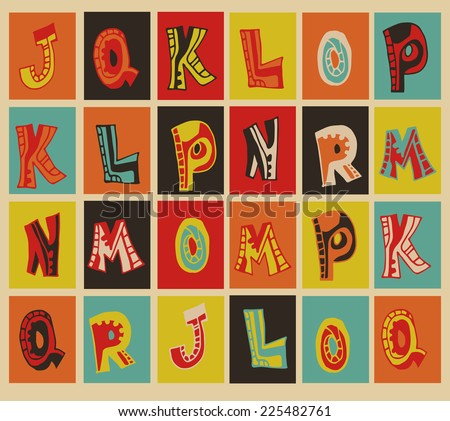 Bright vintage alphabet icons in a square - stock vector