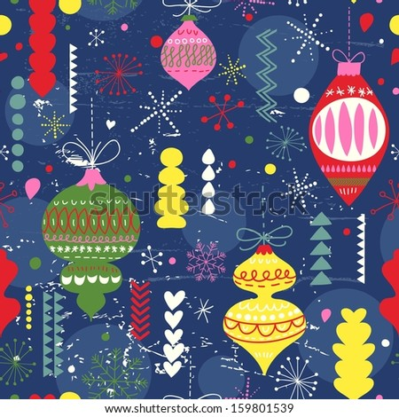 Bright vintage Christmas and New Year seamless pattern in vector. Seamless pattern can be used for wallpapers, pattern fills, web page backgrounds, surface textures. - stock vector