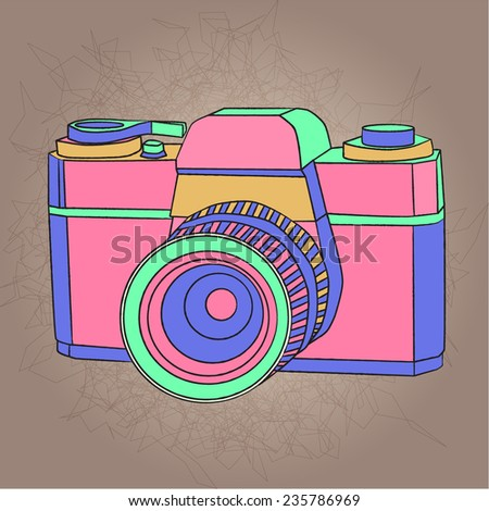 bright vintage small format photo camera - stock vector