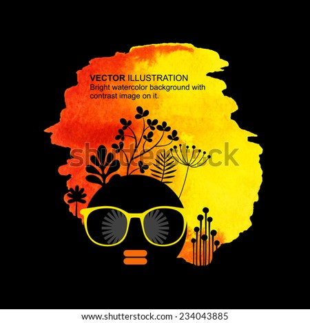 Bright watercolor background with contrast image of pretty woman on it. Vector illustration. - stock vector