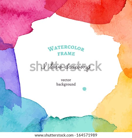 Bright watercolor frame. Vector illustration - stock vector