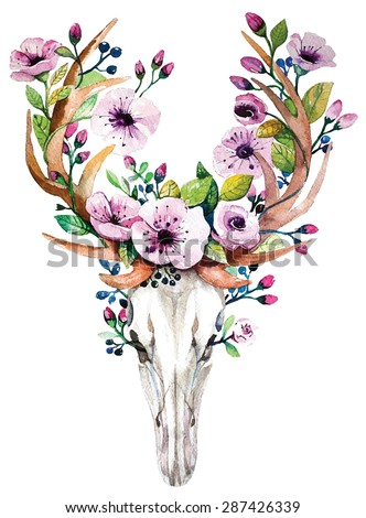 Bright watercolor vector deer skull with  flowers. Deer's head with vintage floral elements. Wedding  retro hipster design. - stock vector