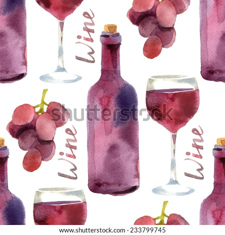 Bright watercolor wine seamless pattern - stock vector