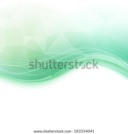 Bright wave crystal green background. Vector illustration - stock vector