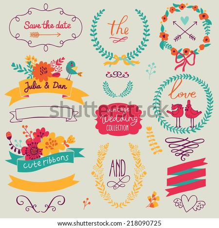 Bright wedding romantic collection with labels, ribbons, hearts, flowers, arrows, wreaths, laurel and birds. Graphic set in retro style. Save the Date invitation in vector. - stock vector