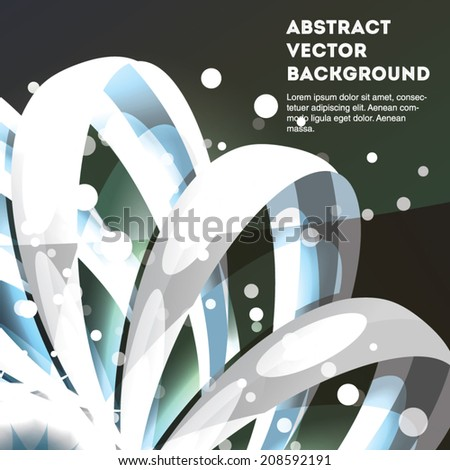 Bright white abstract vector ribbon on blue. Eps 10 illustration. - stock vector