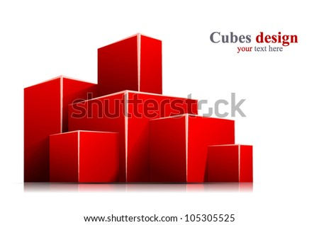 Bright white background with 3d red box - stock vector