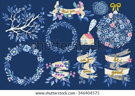 bright winter set of wreathes and templates for design - stock vector
