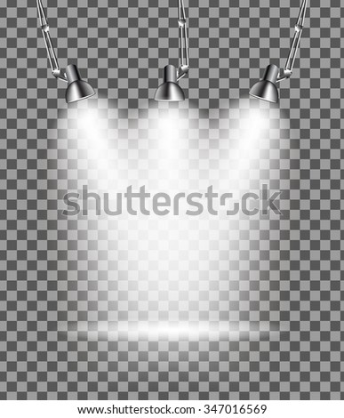 Bright with Lighting Spotlights Lamp with Transparent Effects on a Plaid Dark Background. . Empty Space for Your Text or Object. EPS10 - stock vector