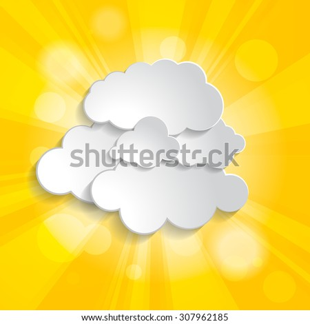 Bright yellow abstract festive bokeh sun effect with clouds background  - stock vector
