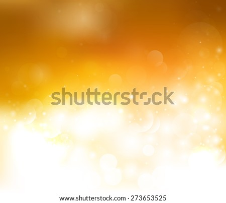 Bright yellow brown background with bokeh and glow. Magic light vector background. Colorful background with defocused lights - stock vector