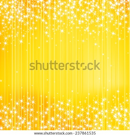 Bright yellow holiday background with stars. Festive season design. New Year, Christmas, wedding event style   - stock vector