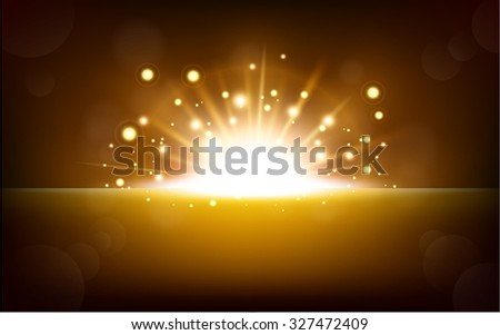 Bright yellow light rising from the black horizon - stock vector