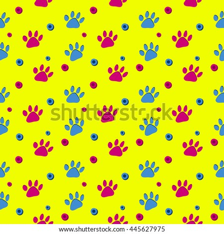 Bright Yellow Paw Print Vector Pattern - Pink and blue dog paw prints and dots, on a bright yellow background, fun colorful seamless vector pattern. - stock vector