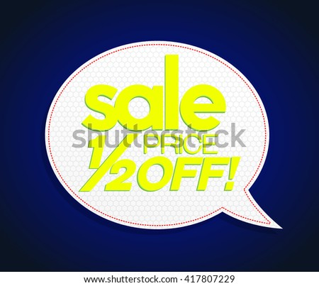 Bright yellow sale tag in speech bubble form, realistic design. Sale up to 70 percents. Modern vibrant yellow price coupon poster style. - stock vector