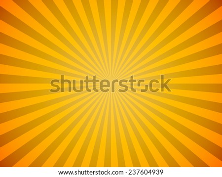 Bright yellow sun burst horizontal vector background. - stock vector