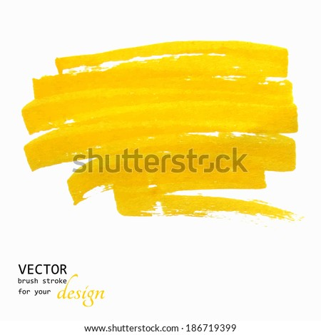 Bright yellow vector brush stroke hand painted background - stock vector