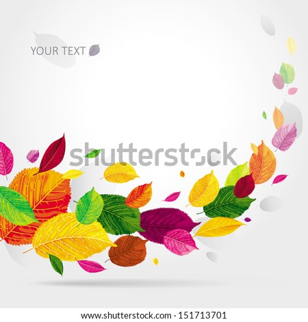 Brightly colored autumn leaves flying in the wind - stock vector