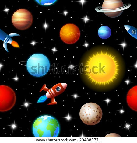 Brightly colored background seamless kids design of rockets flying through a starry sky in outer space between a variety of planets in the galaxy in a travel and exploration concept - stock vector