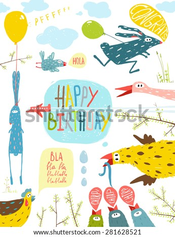 Brightly Colored Fun Cartoon Animals Happy Birthday Greeting Card. Bizarre countryside baby animals illustration for children. Vector EPS10. - stock vector