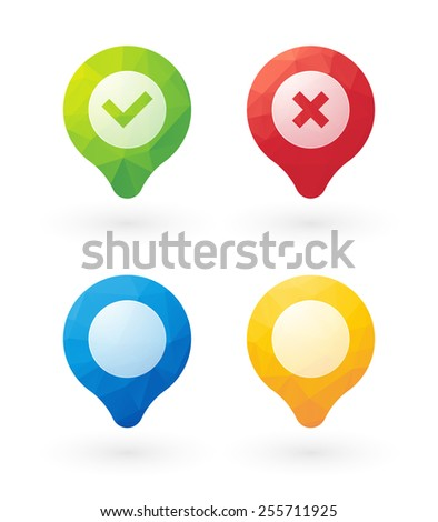 brightly colored markers check cancel and empty with triangles - stock vector