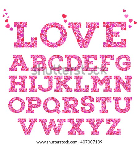 Brightly colored romantic alphabet with love inscription made of small vivid heart shapes in mosaic style isolated on white background.  Valentine's day, wedding, love concept. Vector illustration.  - stock vector