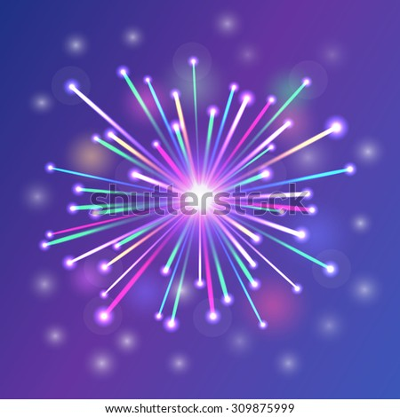 brightly colorful fireworks blue white red green orange - stock vector