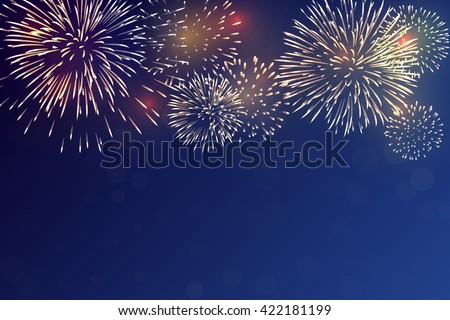 Brightly Colorful Fireworks on twilight background - stock vector