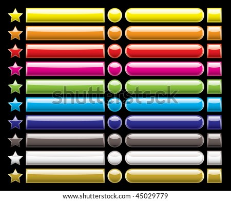 Brightly coloured web buttons in a rainbow of colors and different shapes - stock vector