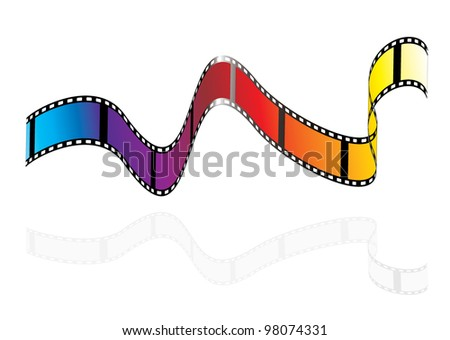 Brightly colours camera film strip with rainbow colours - stock vector