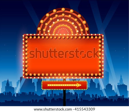 Brightly theater glowing retro cinema neon sign in front of cityscape - stock vector